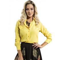 Camisa Social De Cetim Amarela Feminina Principessa Ketlin