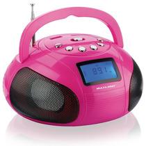 Caixa De Som Mini Boombox 10w Rms Usb Sd Aux Fm Rosa - Mu