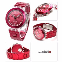 Relógio Swatch Chrono Full Blooded Raspberry Svck4050ag Fret
