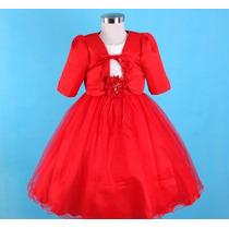 Vestido Infantil Festa/ Dama/florista Vermelho Com Bolero