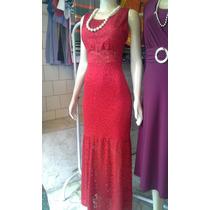 Vestido De Renda Clipir Com L Vermelho Modelo Sereia + Molde