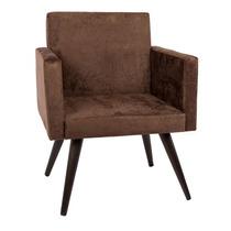 Cadeira / Poltrona Ecoline Beatriz Marrom Chocolat Pé Palito