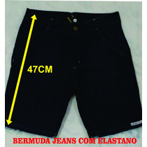 Bermuda Jeans C/ Elastano E Barra Desfiada