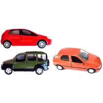 Kit Com 3 Miniaturas Carros Nacionais Fiat 11cm