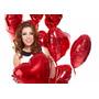 Kit C/ 30 Balão Metalizado Coração 45cm - Vermelho