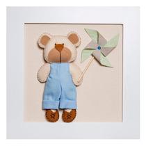 Quadrinho Decorado Quarto Bebê Infantil Azul Urso Catavento