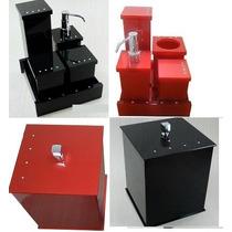 Kit Potes P/ Banheiro Acrílico C/ Strass - Personalizado