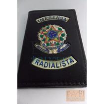 Porta Documentos Em Couro Legítimo Carteira Radialista M07p