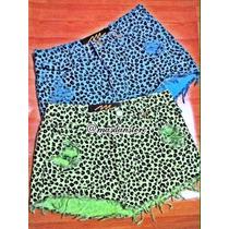 Saia Jeans Destroyed Destruida De Bico Onça Azul Ou Verde