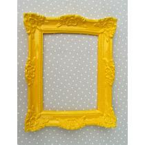 Espelho Decorativo Moldura Em Resina Amarelo Laqueado