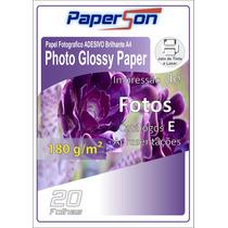 Papel Fotográfico Adesivo 180g Brilhante A4 100 Folhas