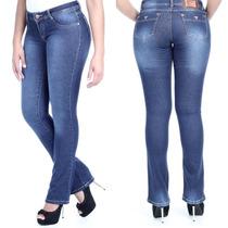 Sawary Calça Jeans Feminina Flare Com Elastano Cintura Média