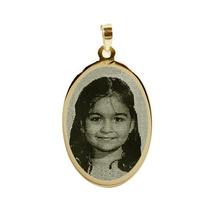 Pingente De Ouro 18k Personalizado C. Foto Gravada