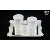 Kit Bebê Higiene Bandeja Porta Treco Potes Ceramica Branco