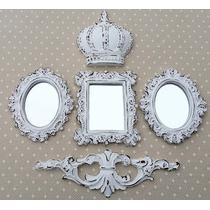 Kit 3 Espelhos & Coroa Decorativos Branco Provençal