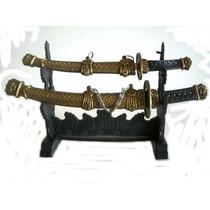 Mini Espadas Sabre Com 2 Com Bainha De Metal E Suporte .