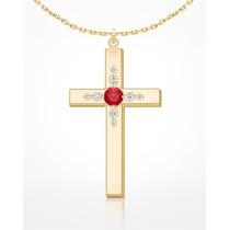 Corrente E Pingente Cruz Em Ouro Amarelo 18k, Rubi E Diamant