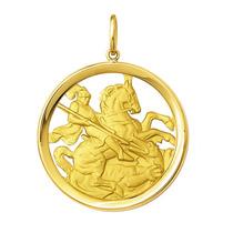 Leão Jóias Medalha São Jorge Em Ouro 18k 10,8gr Grande