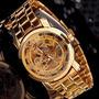 Relogio Masculino Mce Inox Dourado Esqueleto Automatico R005
