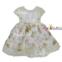 Vestido Festa Infantil Dama De Honrra Luxo Com Tiara
