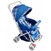 Carrinho Bebê Tipo Berço Azul Xadrez 3 Posições Reversível