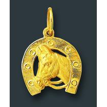 Pingente Ferradura Cavalo De Ouro 18k Com Certificado