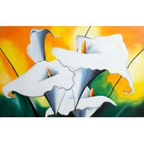 Quadro Pintura Tela 60x90 Cm Copo De Leite