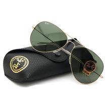 Óculos Ray-ban Original Aviador Rb3025 Dourado Clássico G15