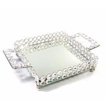 Bandeja De Cristal Prateada Com Alça Espelhada 21 Cm