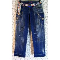 Calça Jeans 42 44 Customizada Destroyed Lycra