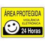 Placa Aviso Área Protegida Vigilância Eletrônica 24 Horas