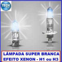 Par Lampadas H1 H3 Super Branca Efeito Xenon Farol Milha Bh