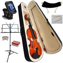 Violino + Estante Partitura Afinador Espaleira Breu Estojo