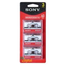 Fita Micro Cassete Mc-60 Sony Micro K-7- Com 03 Unidades