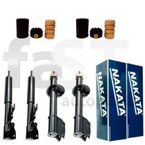 4 Amortecedores Nakata + Kits Fiat Uno Mille Way 2009/2013