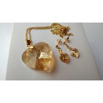 Conjunto Cristal Swarovski Coração Golden Shadow Folh. Ouro
