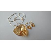 Conjunto Cristal Swarovski Coração Golden Shadow Prata 925
