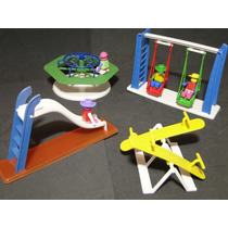 Miniatura Parque Diversões Infantil 04 Bonecos 04 Brinquedos