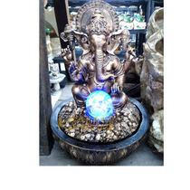 Fonte Água Resina Pedra Ganesha Luz Bola Cristal Yoga India