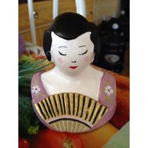 Gueixa Boneca Japonesa Oriental Escultura Pronta Entr