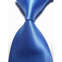 Gravata Seda Lisa Azul Medio Brilho Sedoso Gvt 650