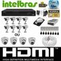 Kit Cftv Dvr Intelbras+hd+8cameras Infra 700l/30m+fonte+cabo