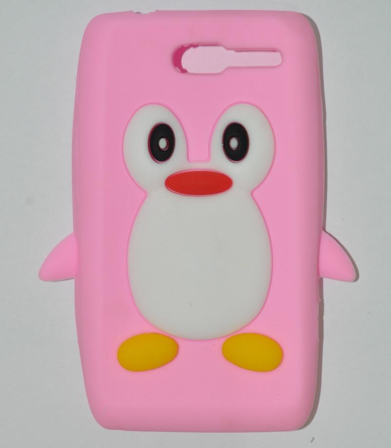 Capa De Silicone Motorola Razr D1 Xt916 / Xt918 Pinguim Rosa