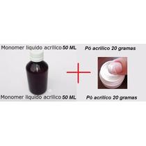 Monomer 50ml E Pó Acrilico 20 Gramas Para Unhas Porcelana !