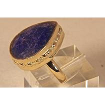 Rsp J2300 Anel Prata 925 A Ouro Safira Azul Sedex Grátis