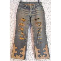 Calça Jeans Hippie 38 Union Bay Customizada Recycled Couro