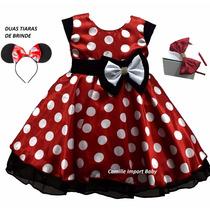 Vestido Infantil Festa Minnie Vermelho Com 2 Tiara De Cabelo