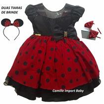 Vestido Festa Luxo Minnie Vermelha E Joaninha Com Tiara