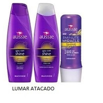 Kit Aussie Shine 1 Shampoo + 1 Cond.+1 Máscara 3 Minutes