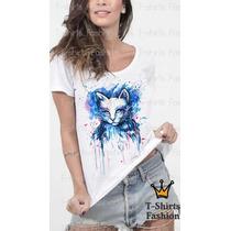 Camiseta Blusa T-shirts Gata Cat Colorida Fashion Color Moda